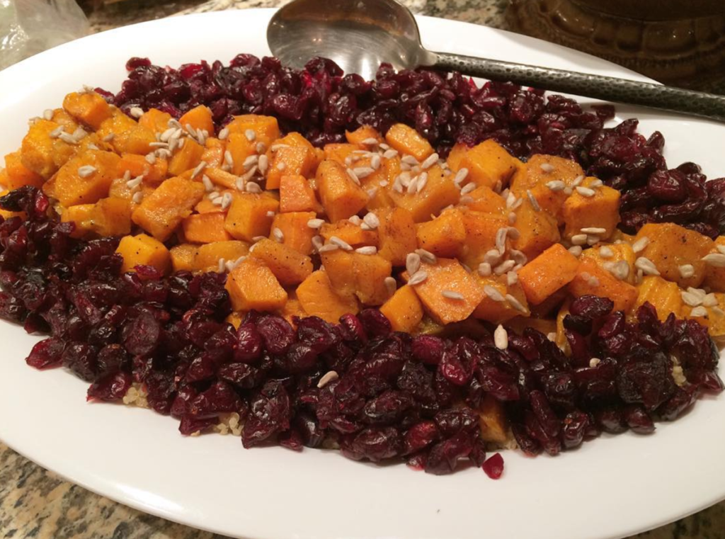 Roasted Butternut Squash with Honey, Cinnamon and Nutmeg over Quinoa and Dried Cranberries