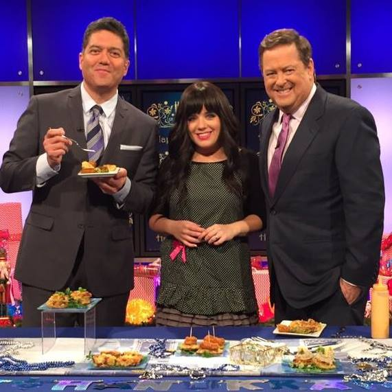 Nina Safar cooking Latkes on KTLA
