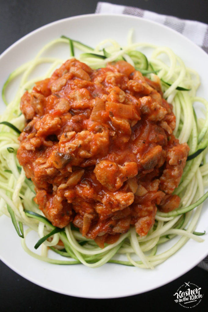 Zucchini Noodles with Chicken Mushroom Sauce