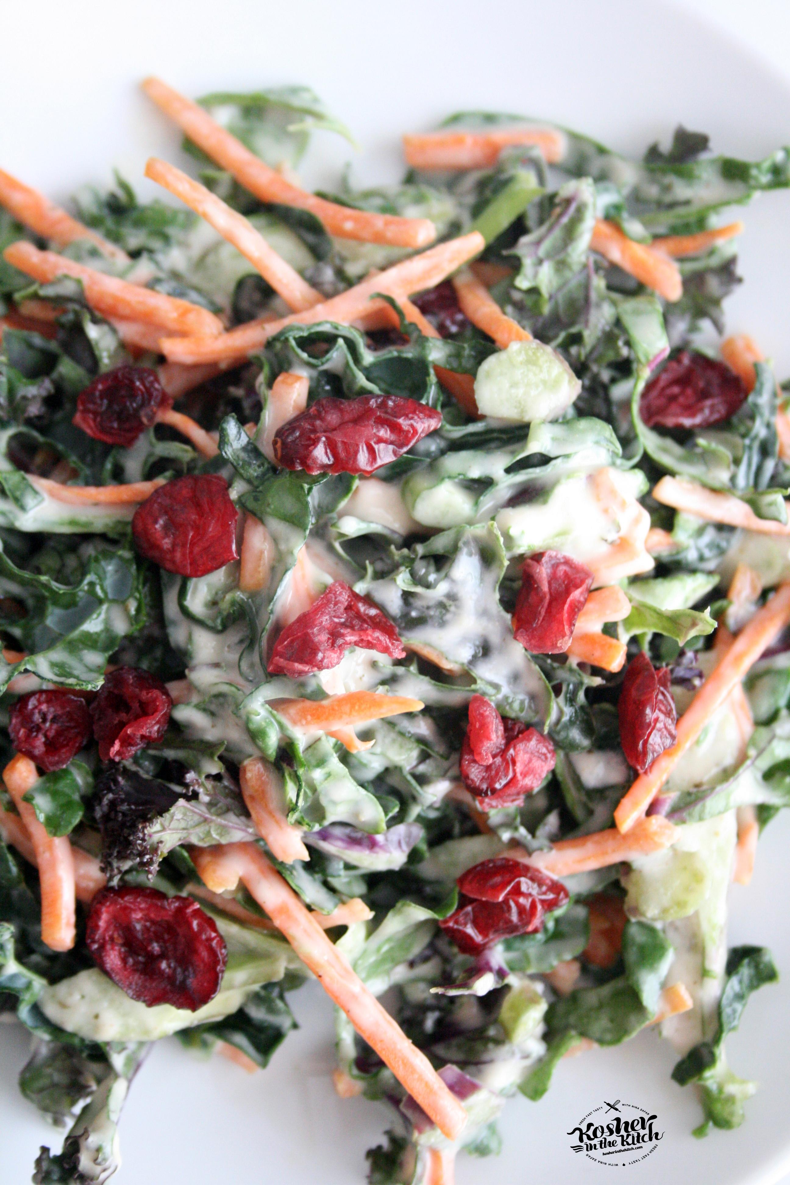 Shredded Kale Salad with Tahini Dressing Shredded Kale Salad with ...