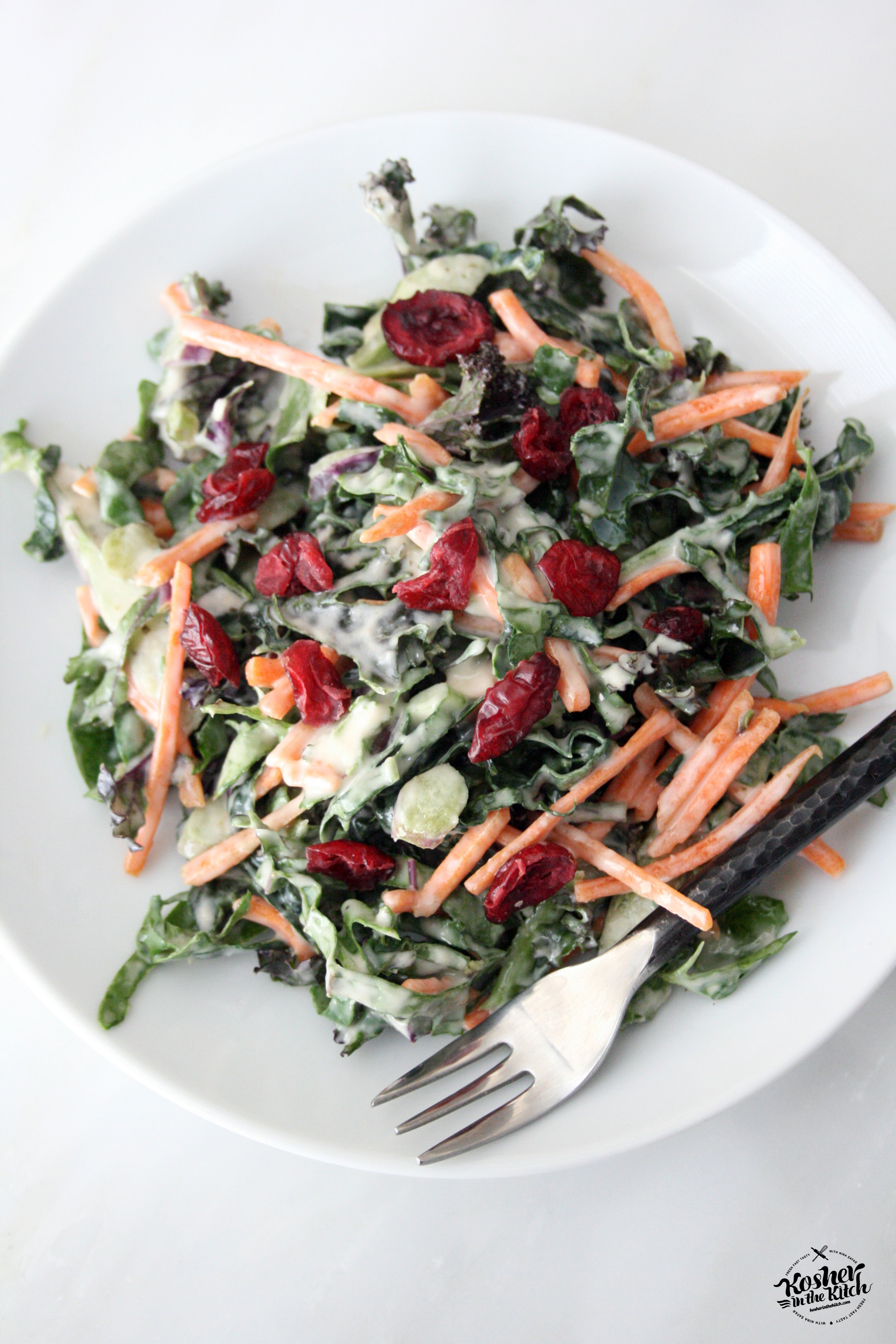 Shredded Kale Salad with Tahini Dressing - Kosher In The ...