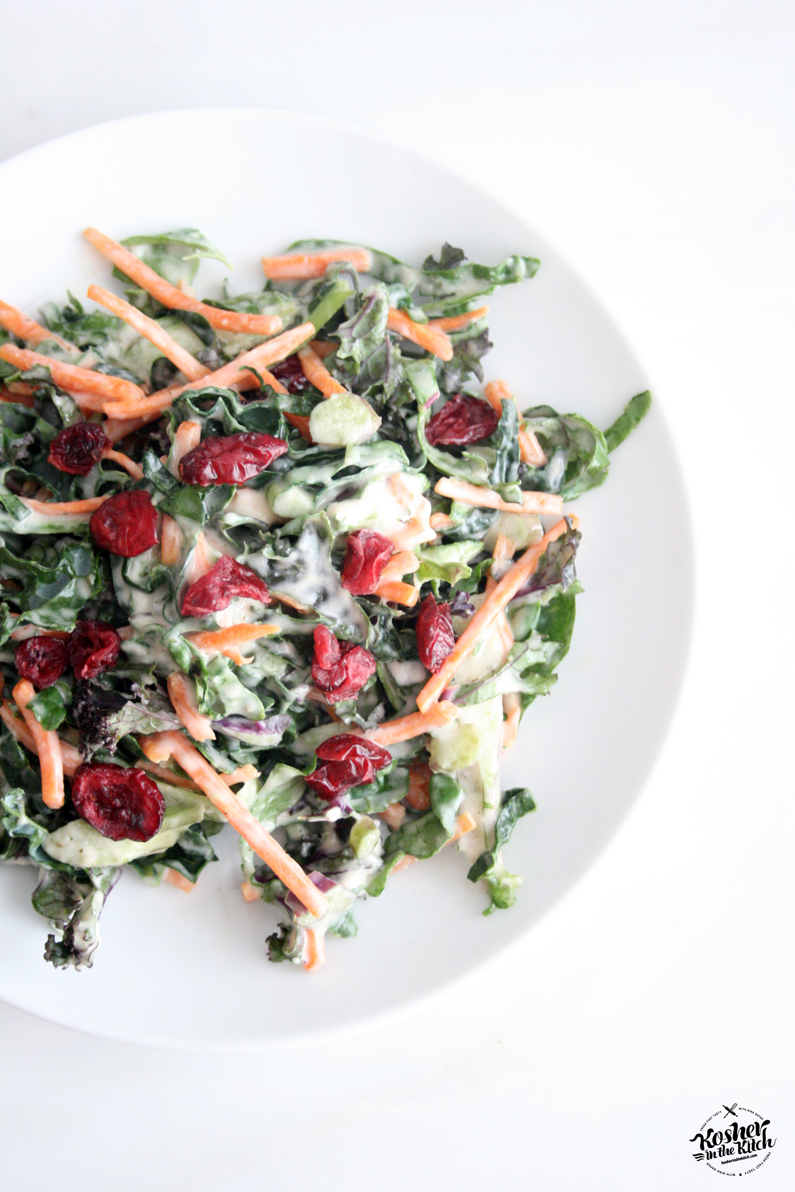 Shredded Kale Salad with Tahini Dressing - Kosher In The Kitch!