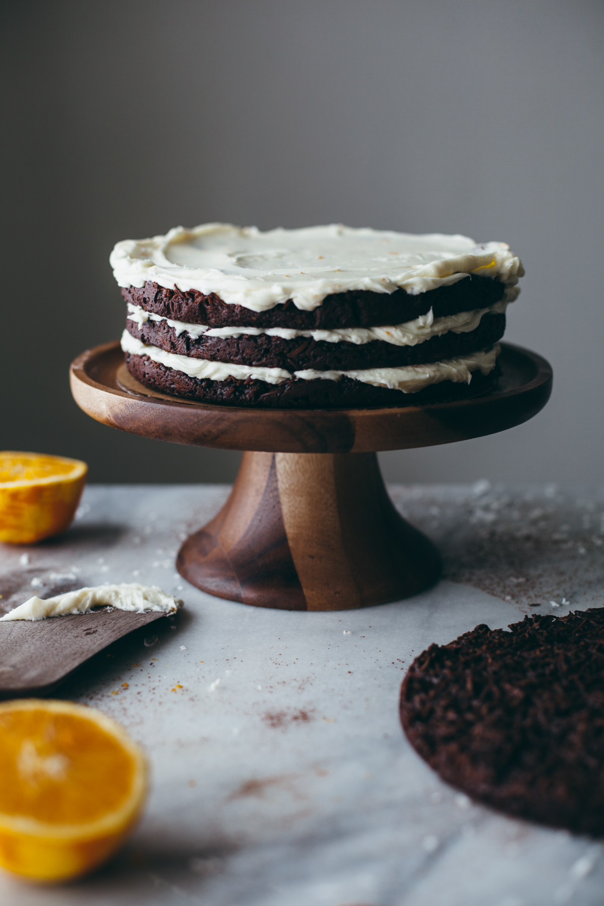 Chocolate Macaroon Cake with Orange Buttercream