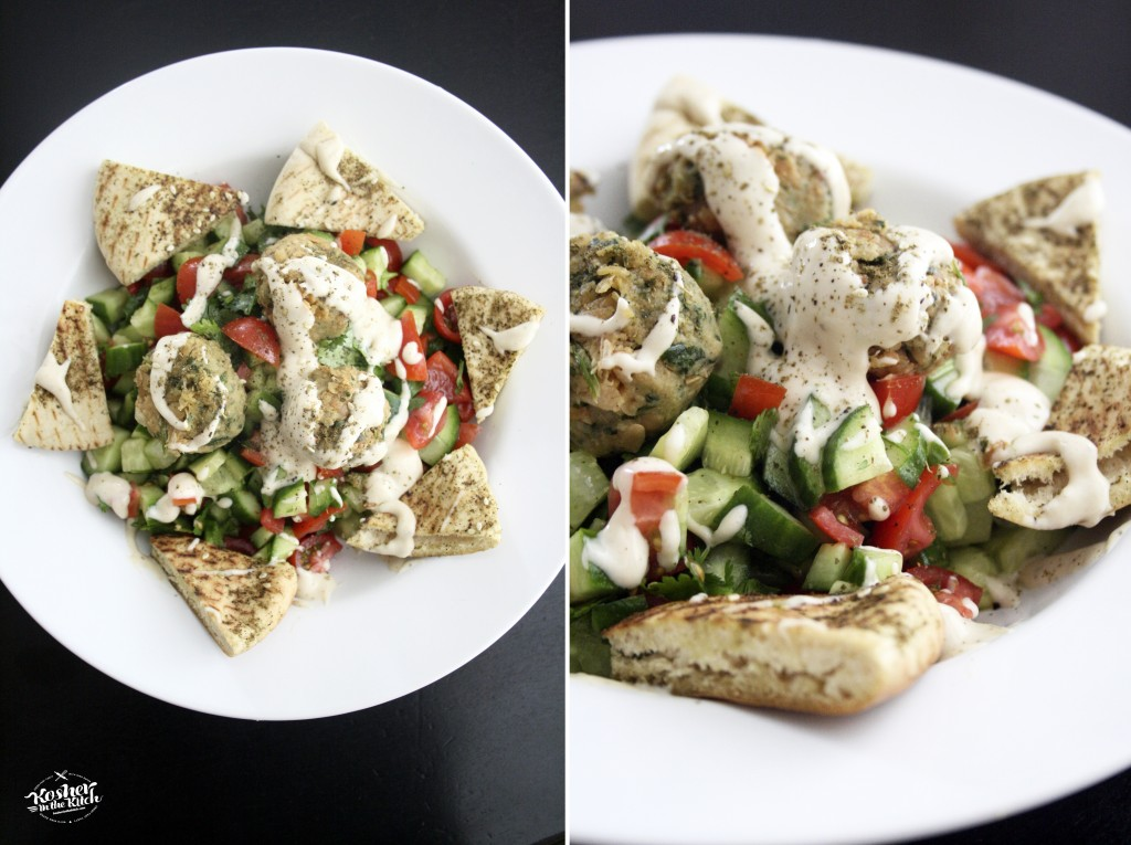Falafel Salad with Zaatar Toasted Pita Chips