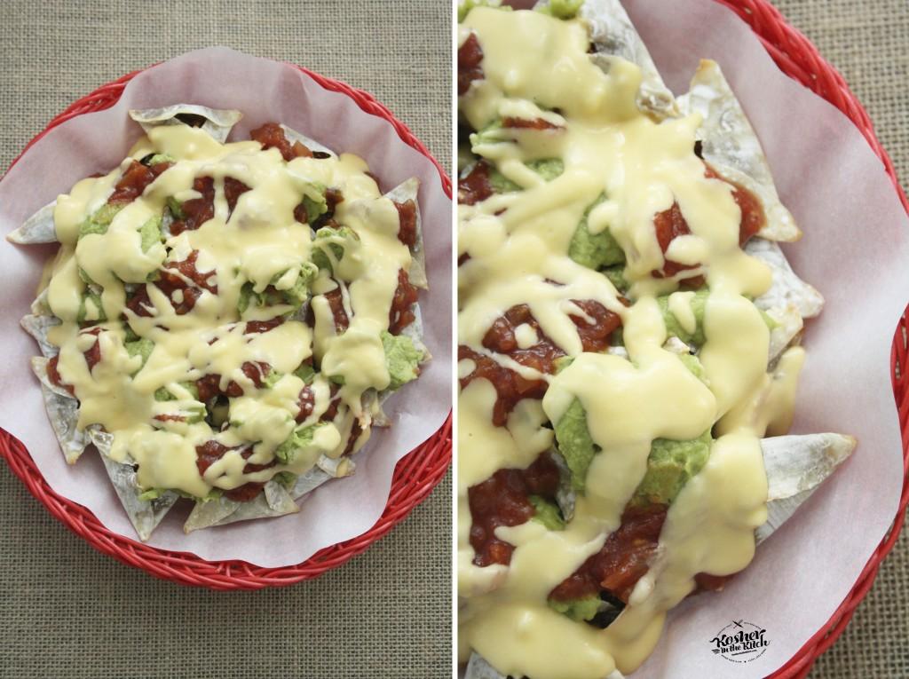 Top nacho hamantaschen with creamy nacho sauce