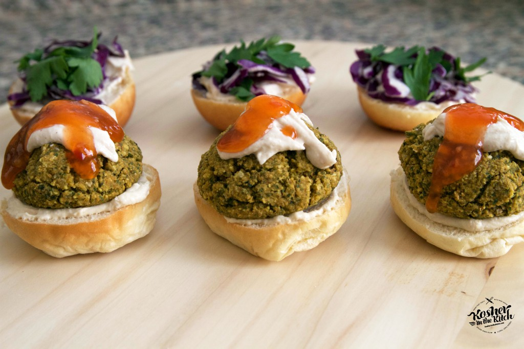 Stuffed falafel balls, baked, served on slider buns