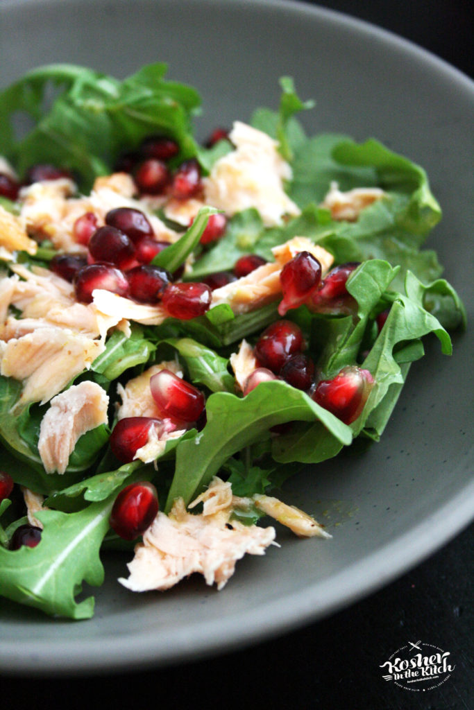Salmon Arugula Salad with Pomegranate Seeds & Honey Mustard Vinaigrette