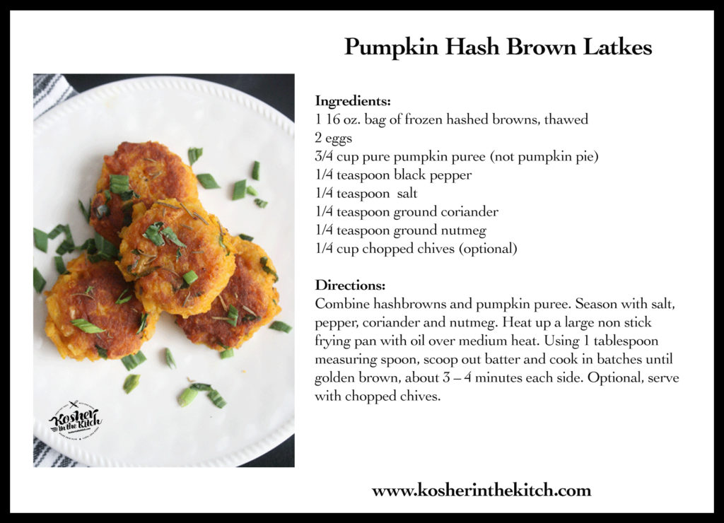 Pumpkin Hash Brown Latkes Recipe Card