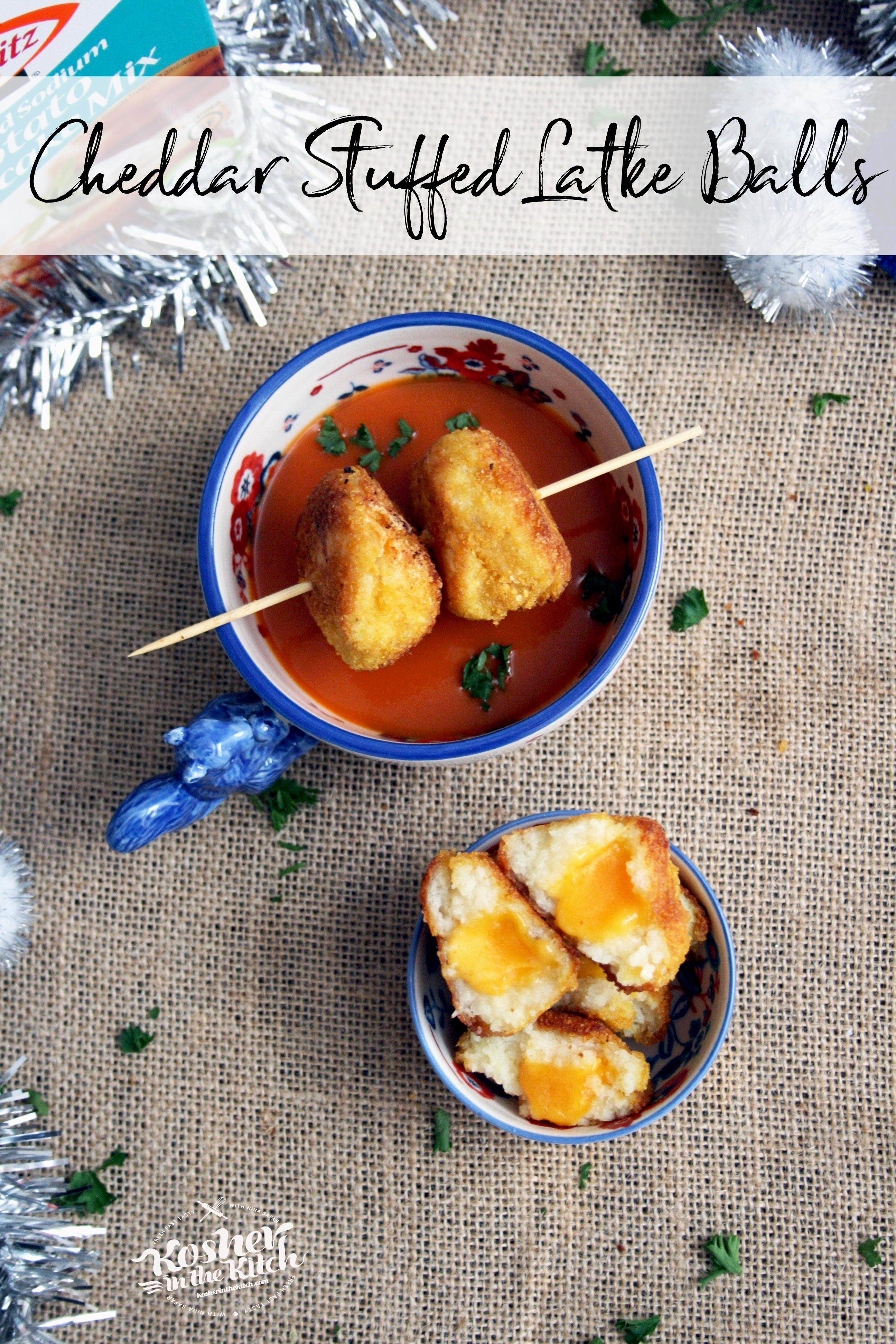 Cheddar Stuffed Latke Balls and Tomato Soup