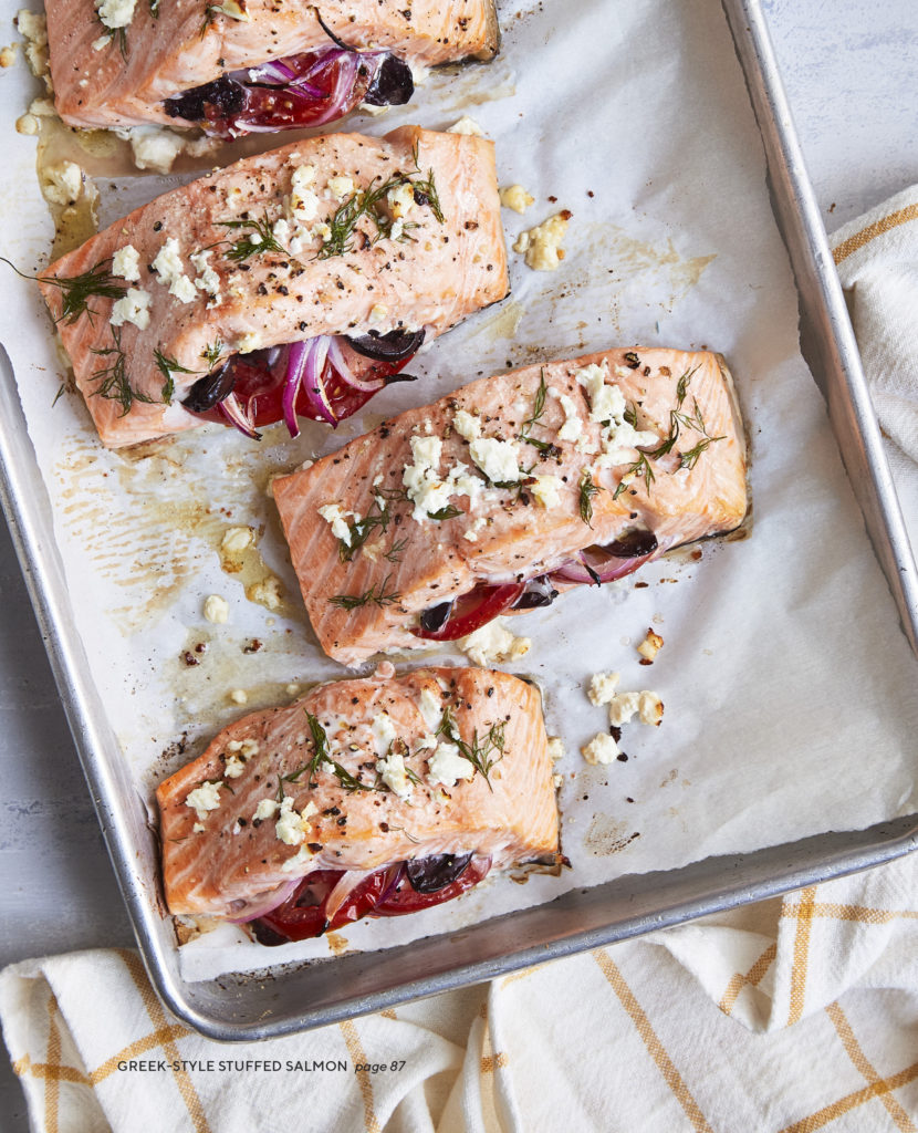 Greek-Style Stuffed Salmon from The Simply Kosher Cookbook