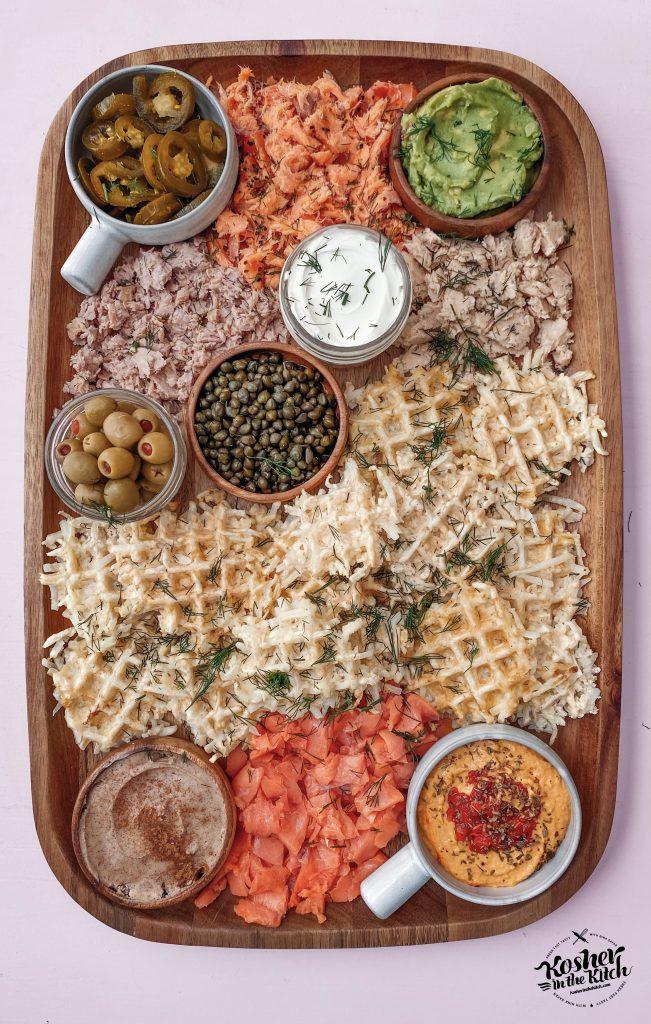 Waffle Latkes Brunch Board for Hanukkah