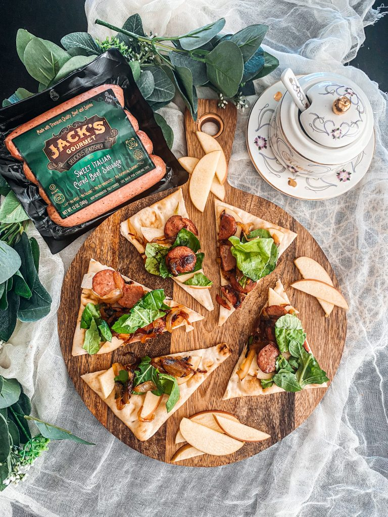 Sausage Flatbread Pizza with Apples & Honey Vinaigrette
