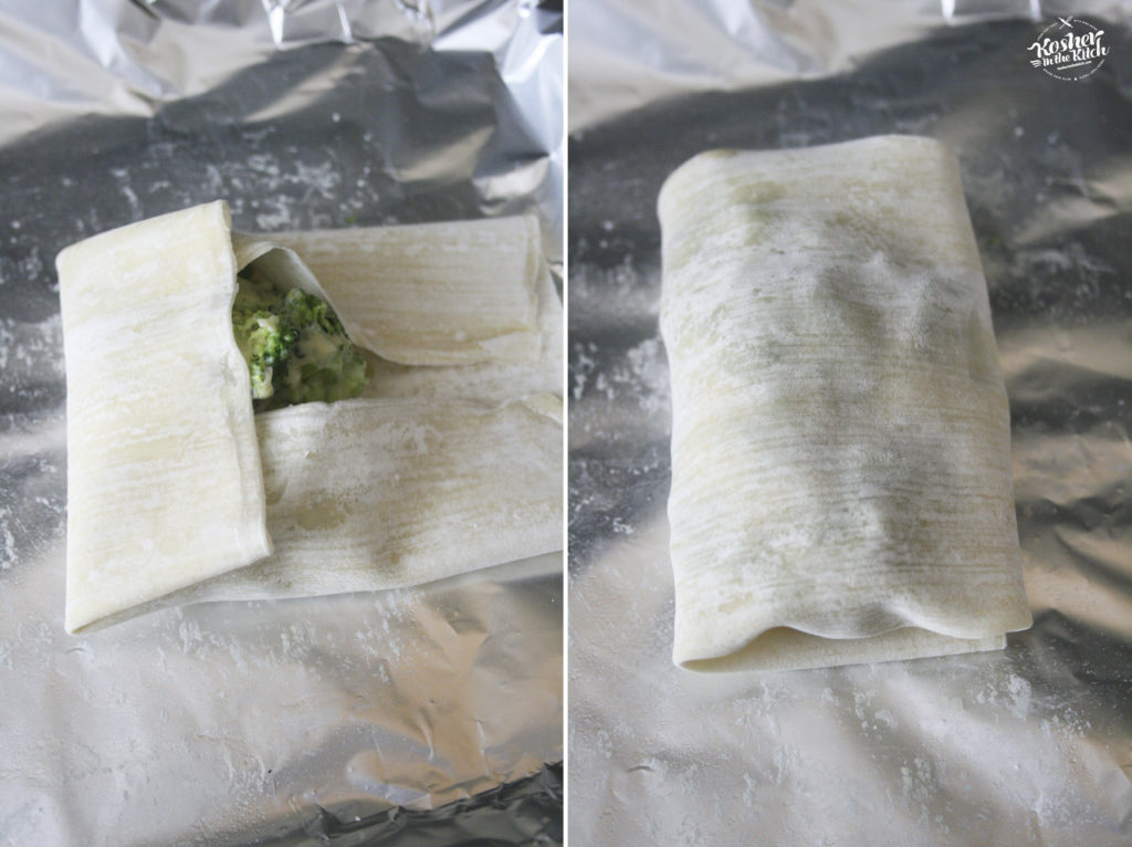 Roll over from left to right, forming egg roll