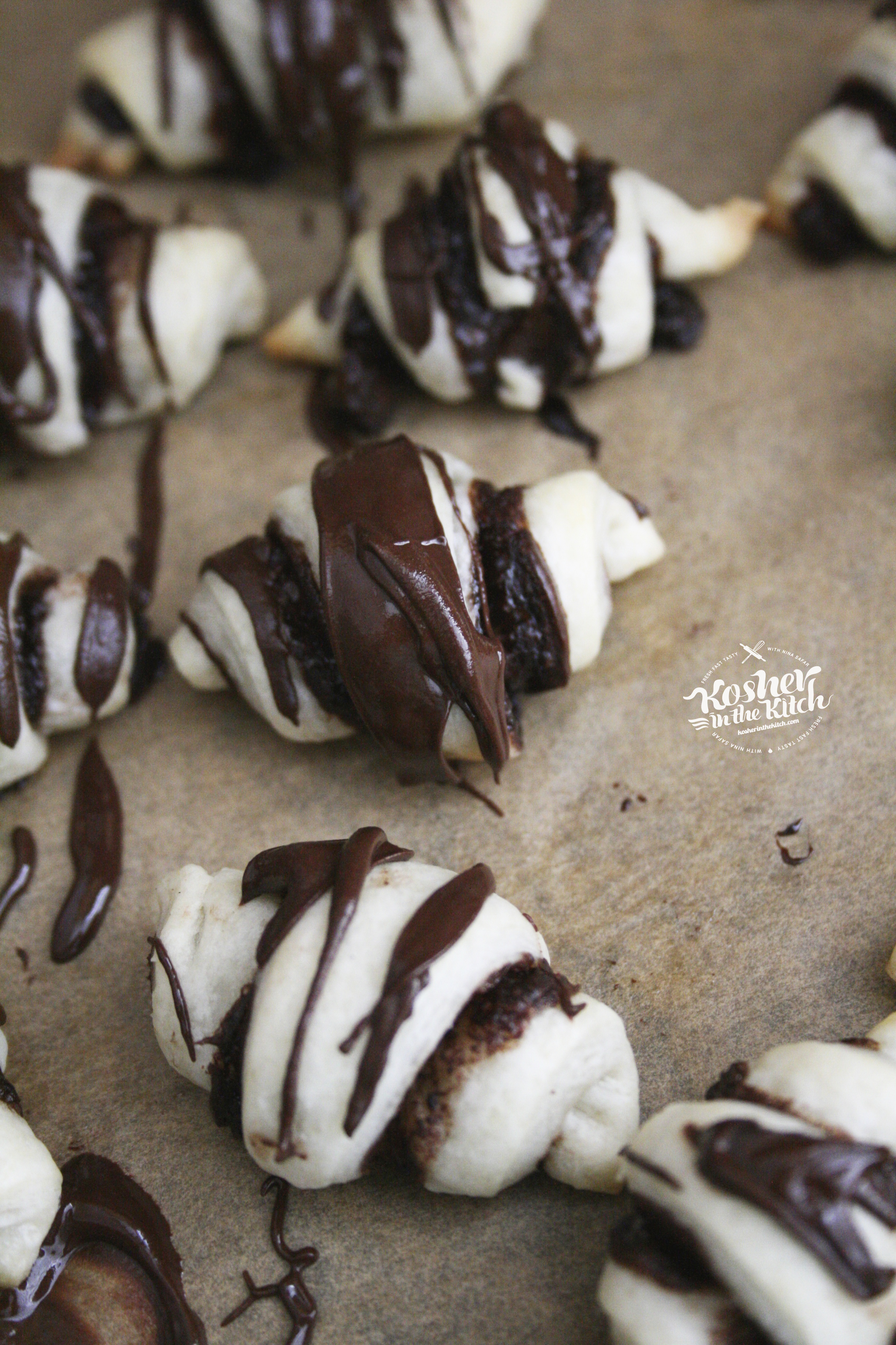 Drizzle Chocolate Rugelach with Melted Chocolate