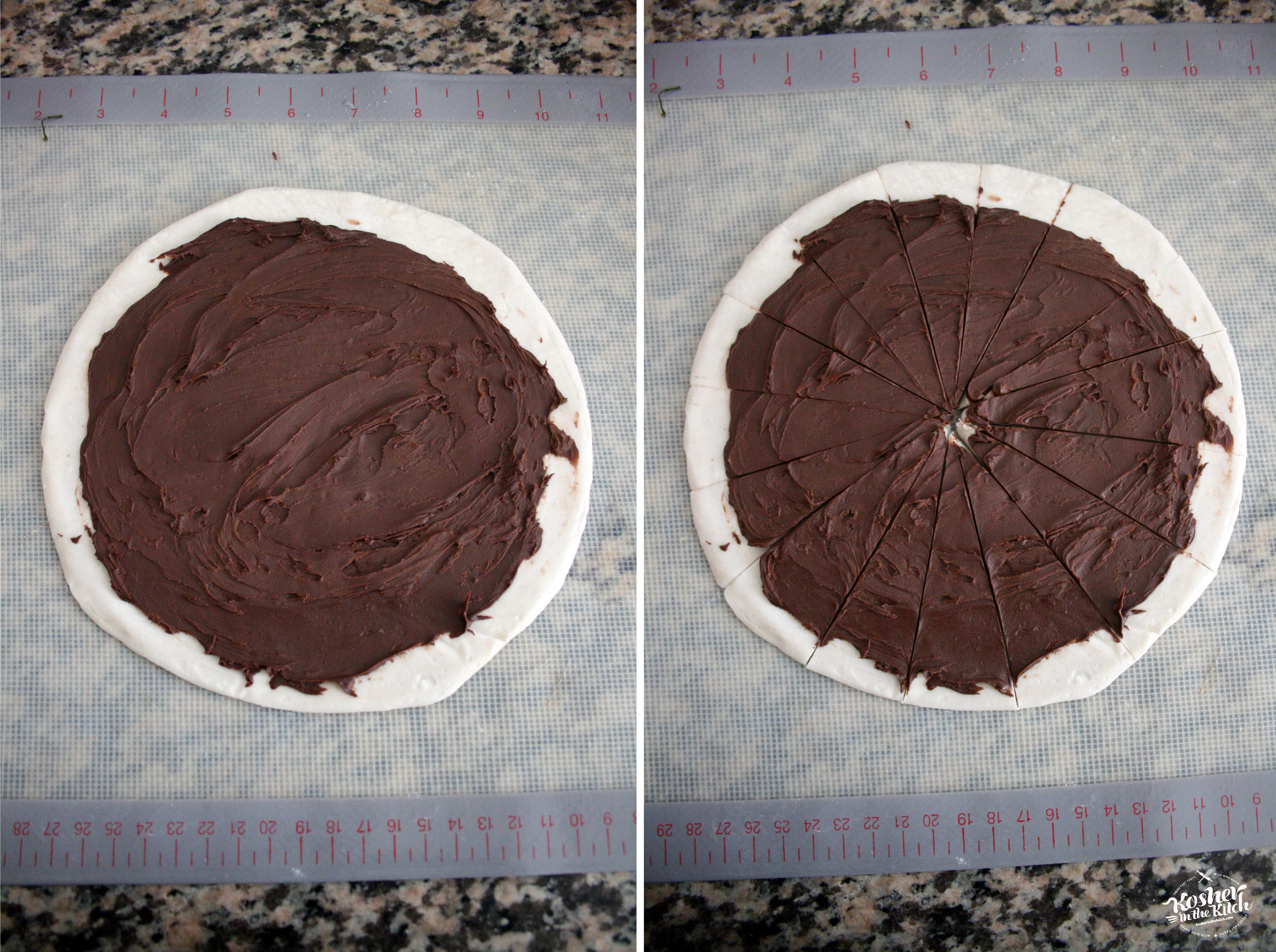Smear chocolate spread over malawach, then cut lines acrosss dough forming triangles