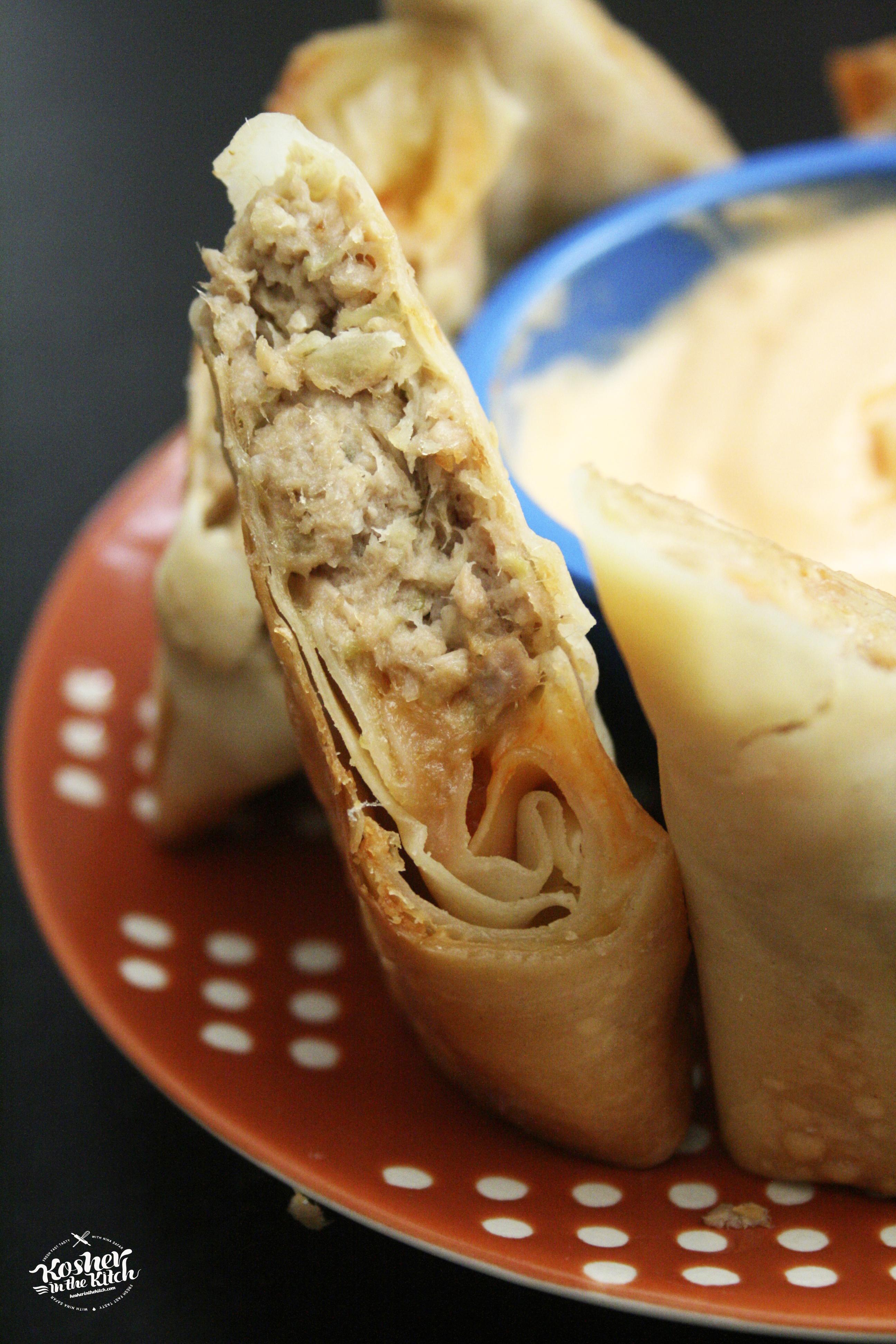 Spicy Tuna Melt Egg Rolls