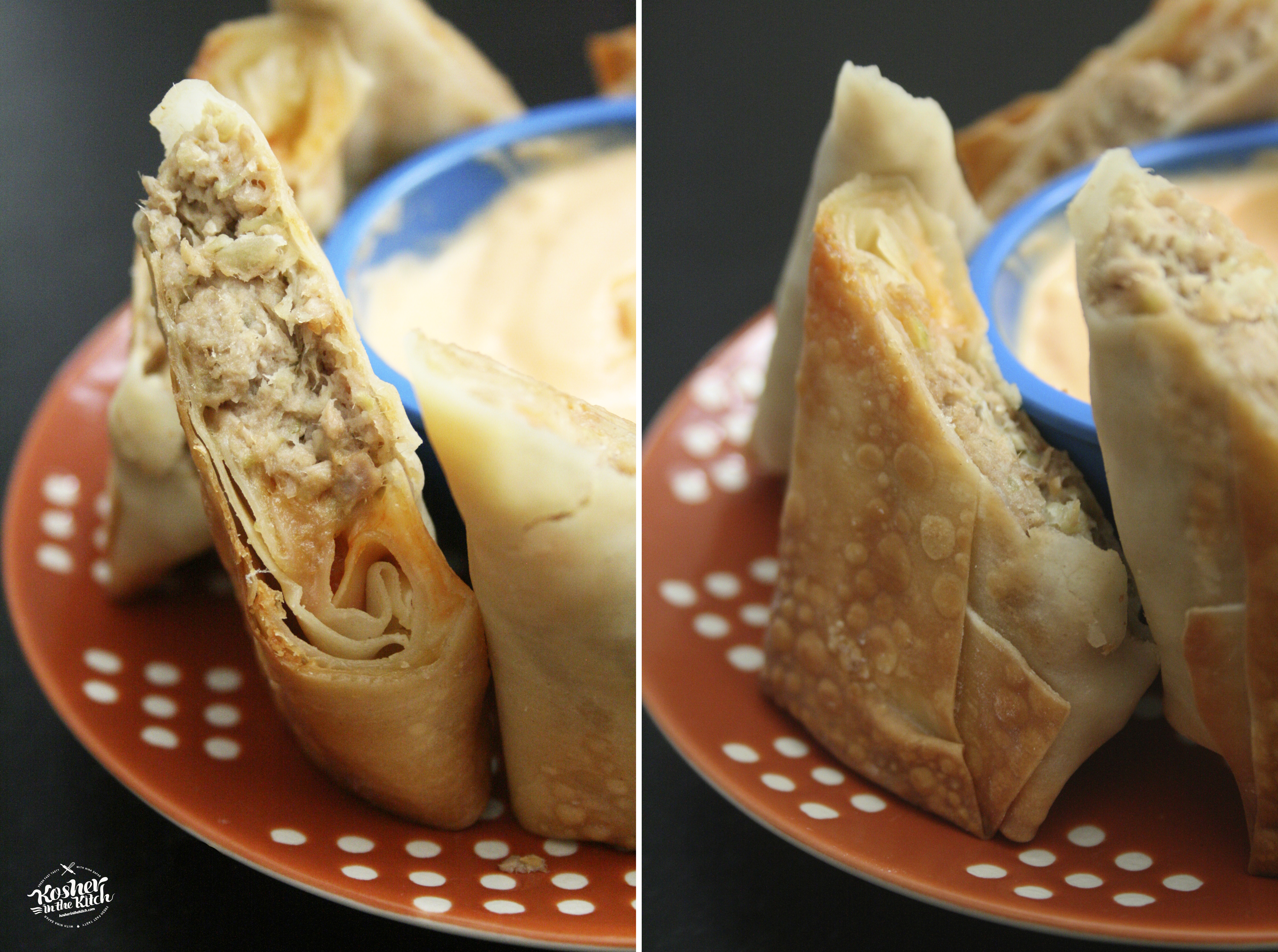 Bake egg rolls then serve with spicy mayo