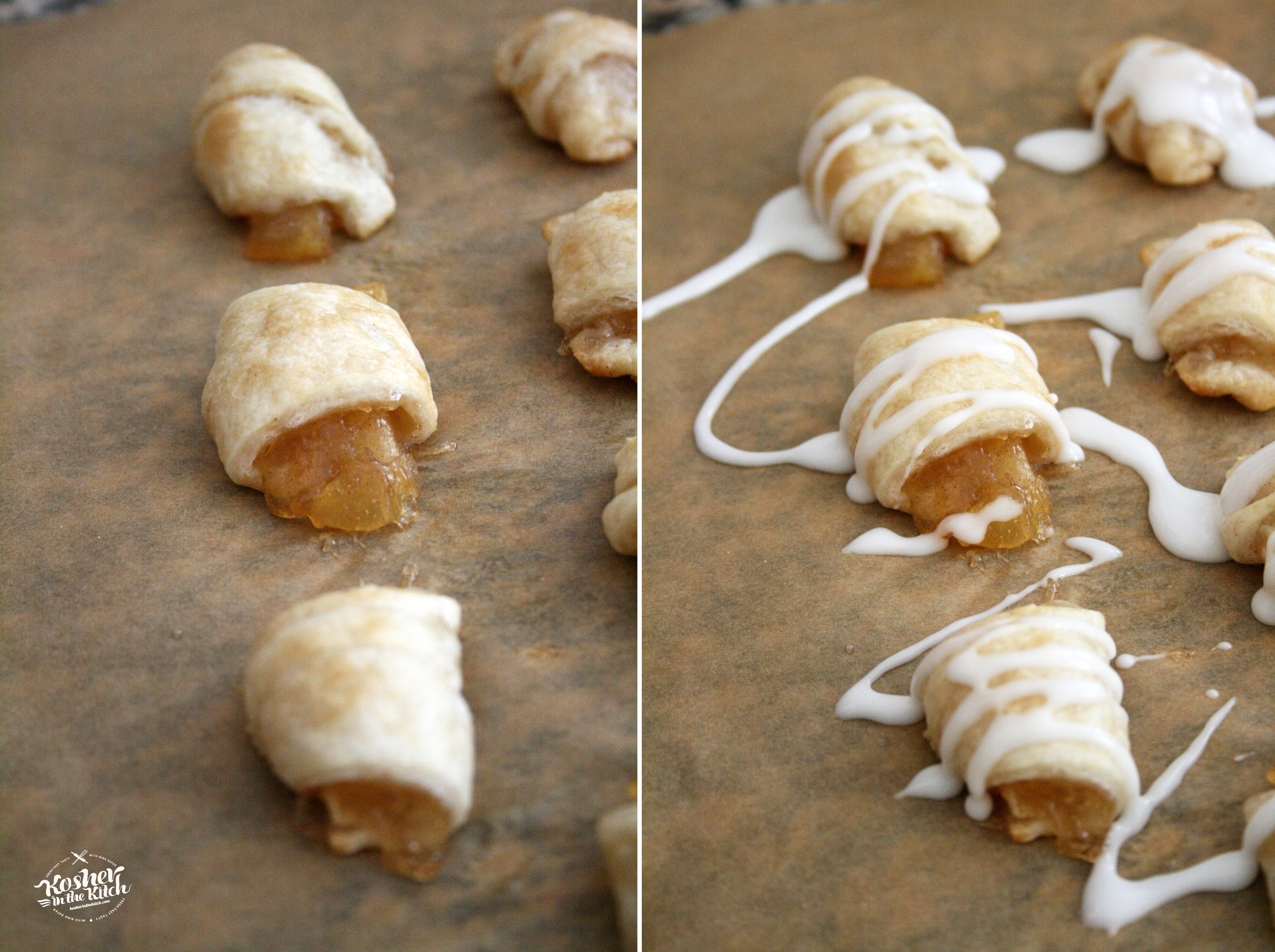 Allow rugelach to cool off before drizzling glaze on topa