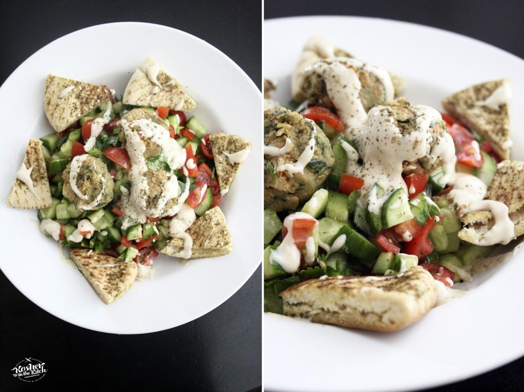 Falafel Salad with Zaatar Toasted Pita Chips