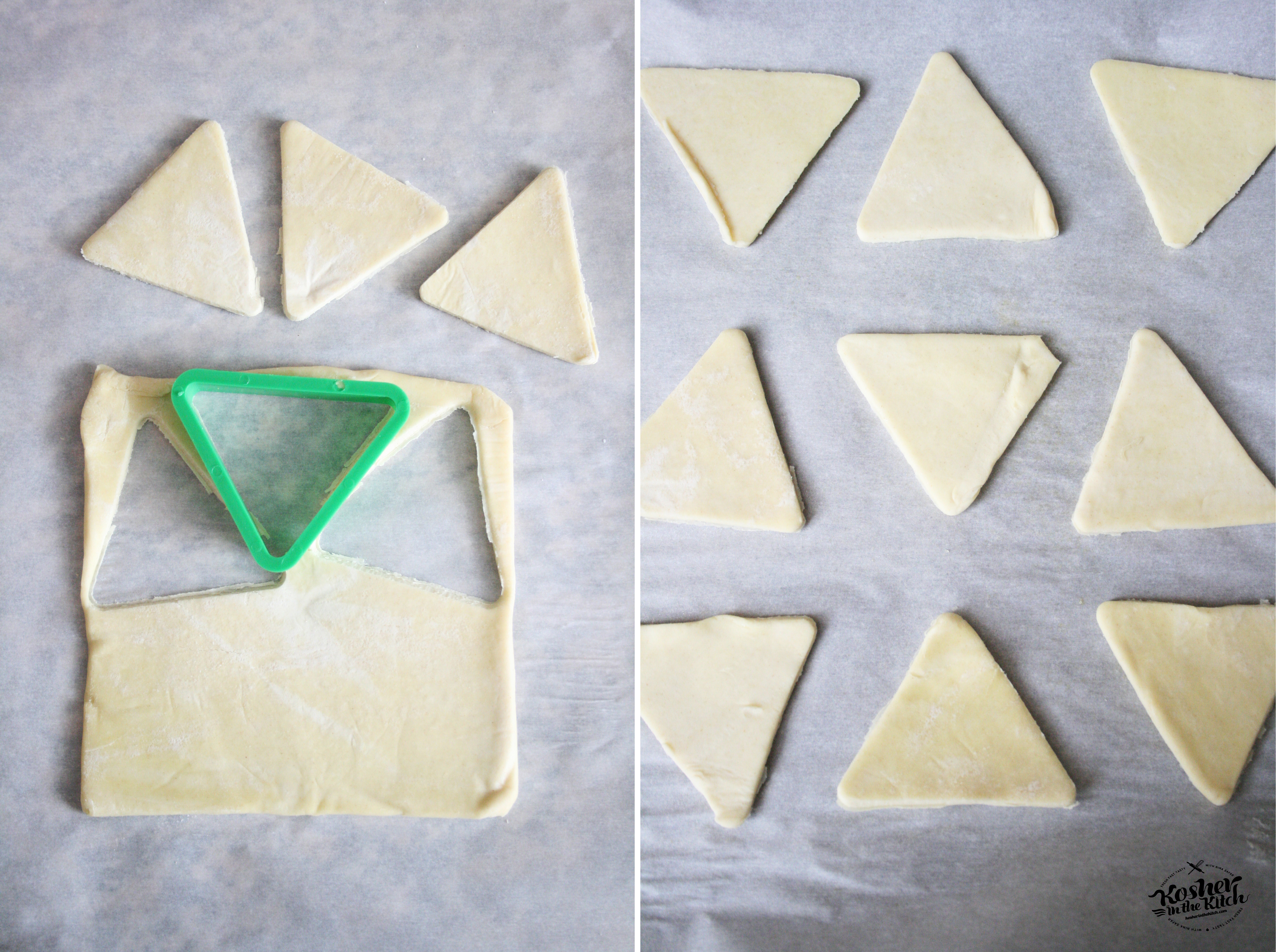 Cut triangles out of puff pastry using cookie cutter