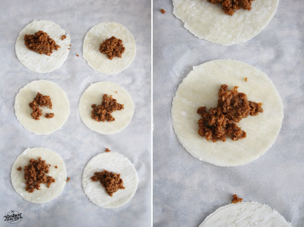 Fill center of dough with veggie crumbles