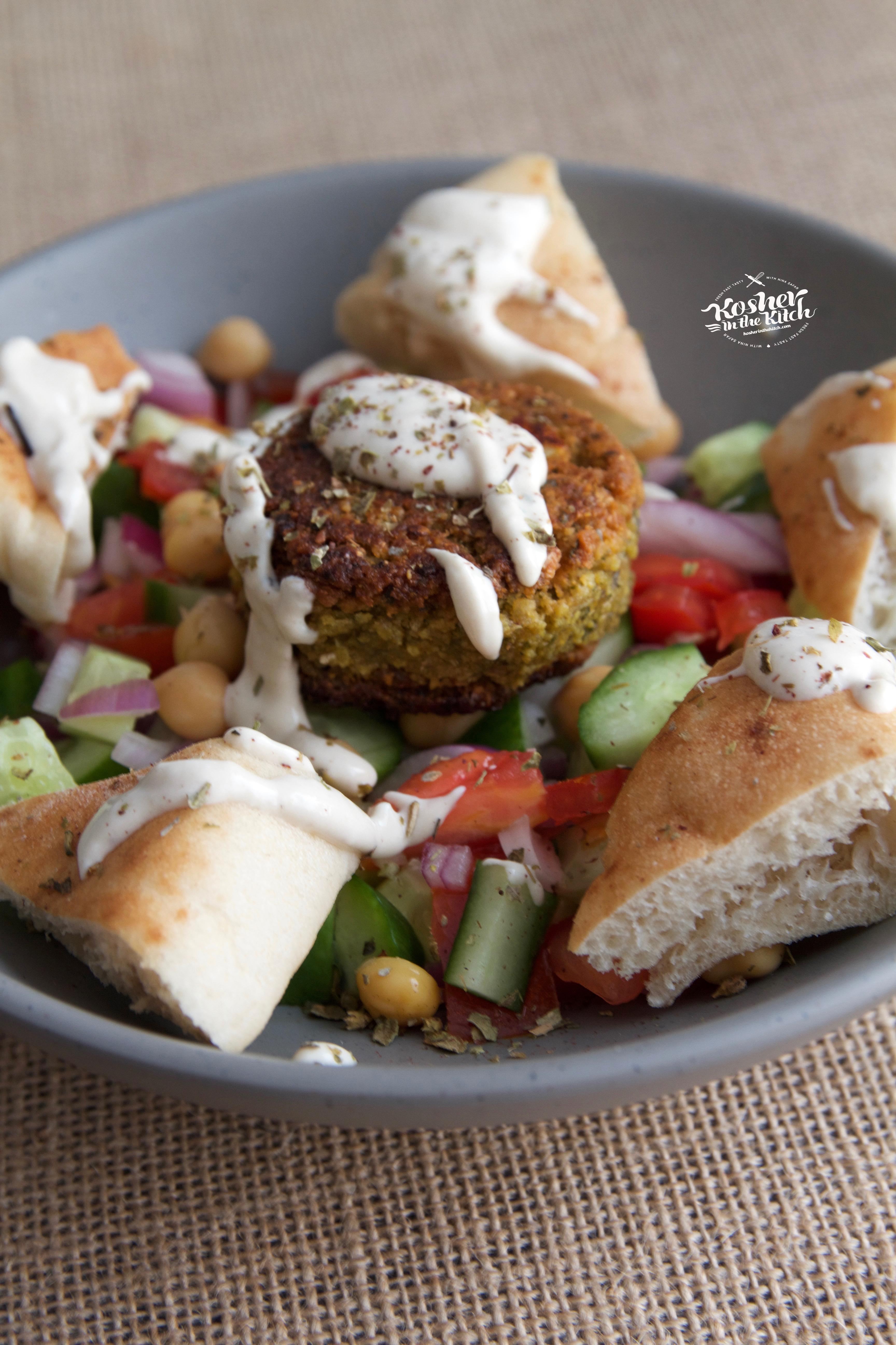 Stuffed Falafel Balls served over Israeli Salad with Pita Chips