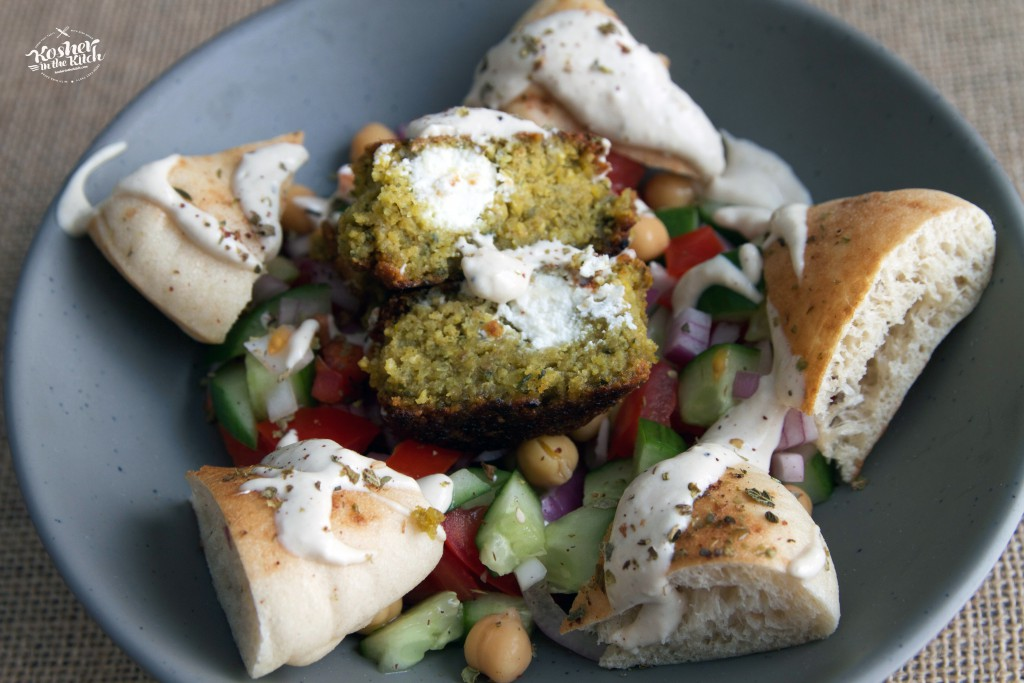 Falafel balls stuffed with goat cheese