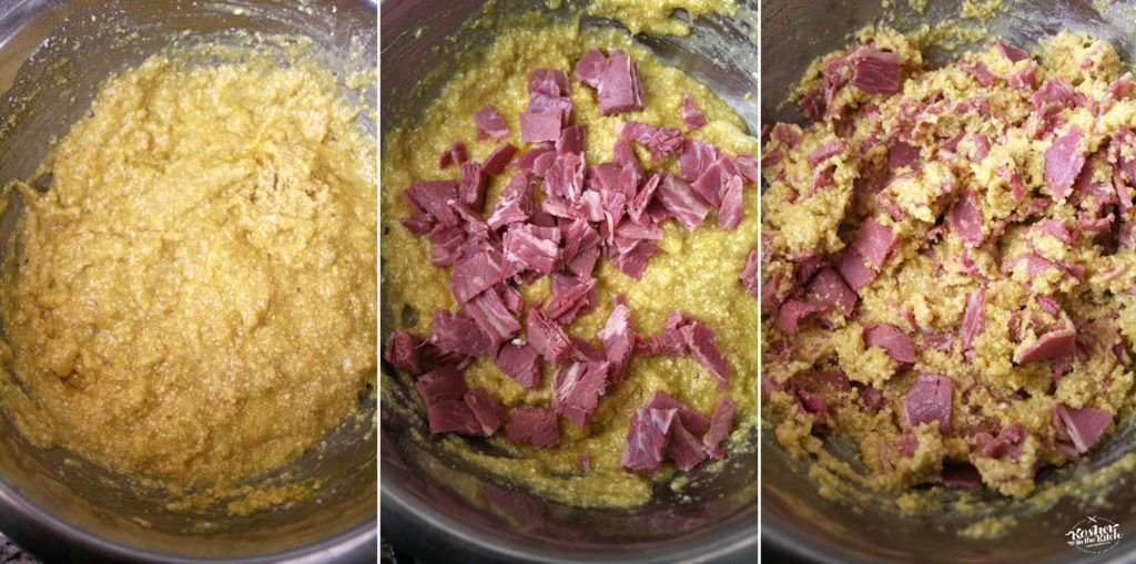 Combine matzo ball mixture with chopped corned beef