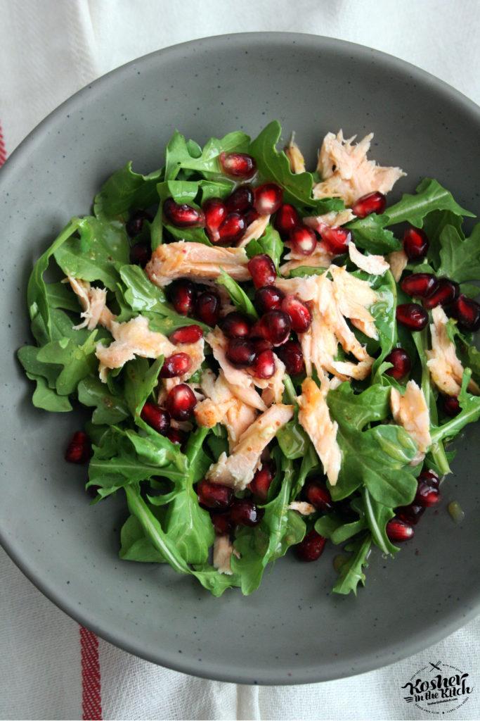 Salmon Arugula Salad with Pomegranate Seeds & Honey Mustard Vinaigrette