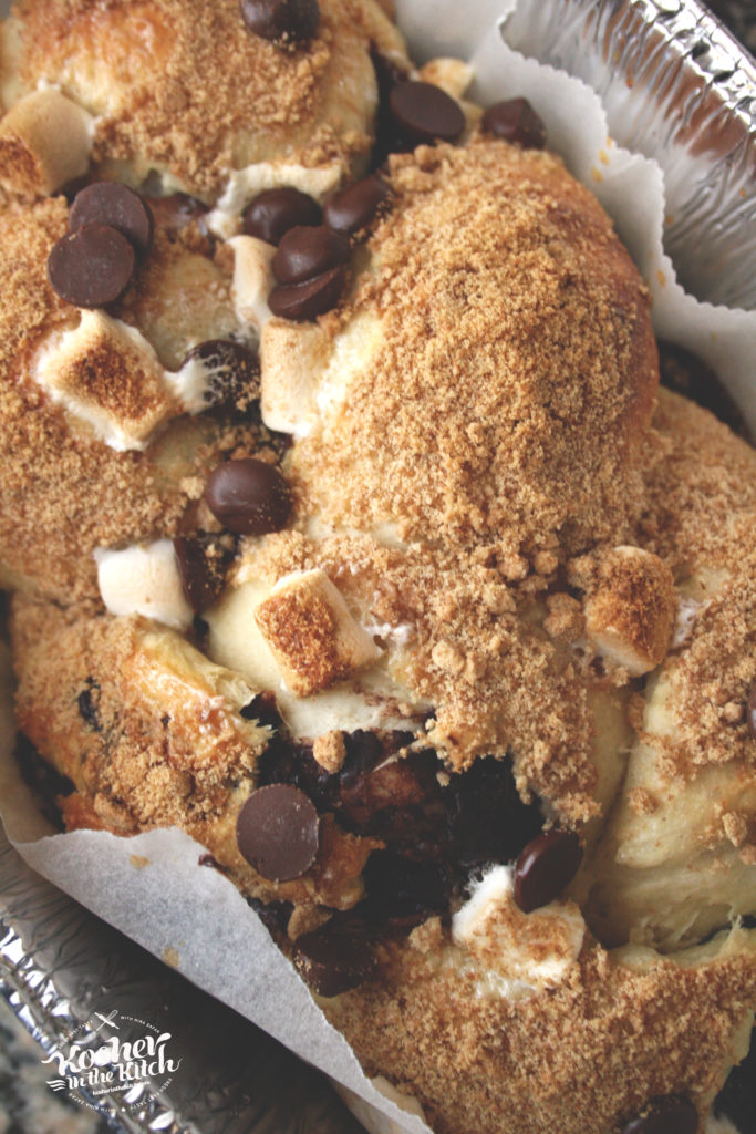 S'mores Challah stuffed with Marshmallows, Chocolate Chips and Crushed Graham Crackers