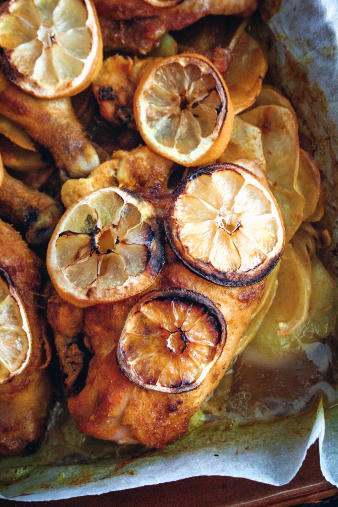 Spiced lemon Chicken with Onions & Potatoes